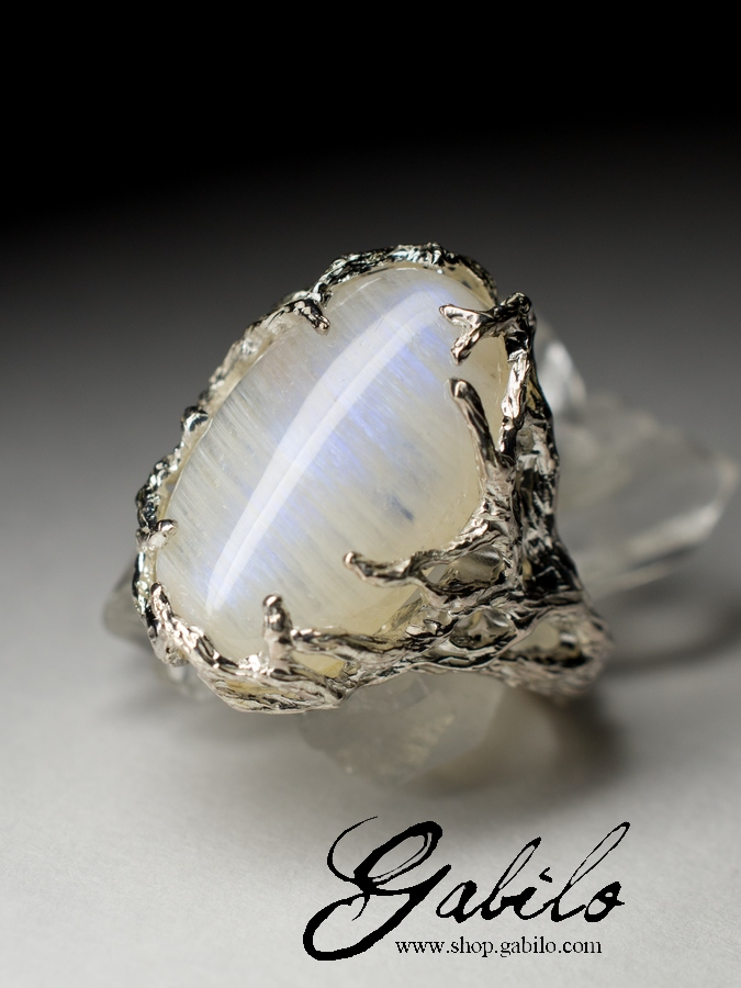 Кольца серьги с натуральным лунным камнем