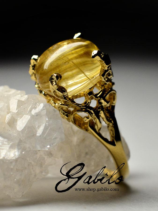 Эффектное кольцо с рутиловым кварцем и аметистами серебро 925